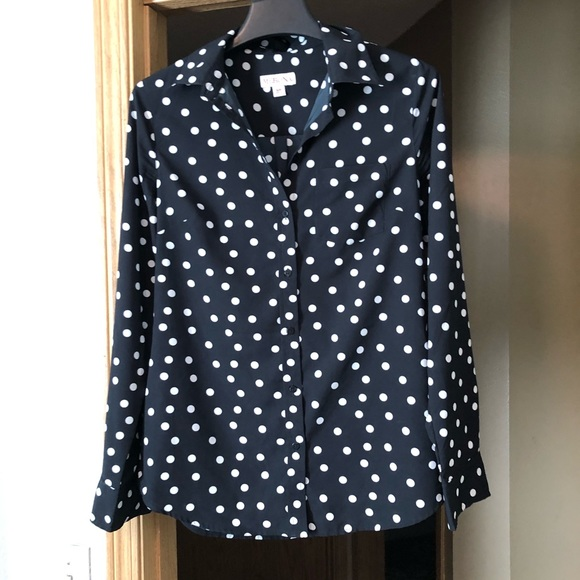 Merona Tops - Merona Black & White Polka Dot Button Down Blouse